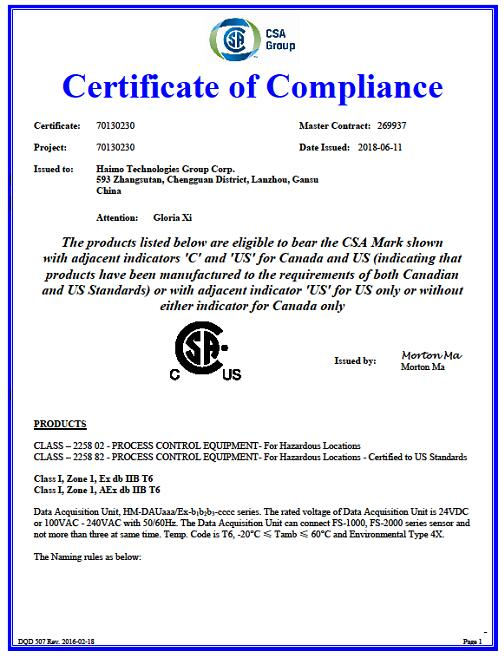 HAIMO Technologies (Group) Co., Ltd. obtained Canadian Standards Association (CSA) certification for multiphase flowmete